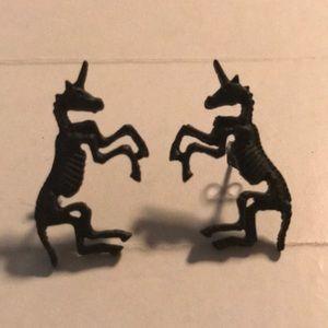 NWOT Skeleton Unicorn Earrings
